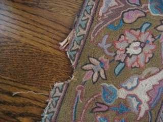 ANTIQUE CHAIN STITCH CREWEL EMBROIDERY RUG INDIA