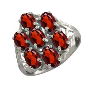 3.85 Ct Oval Red Garnet 10k White Gold Ring Jewelry