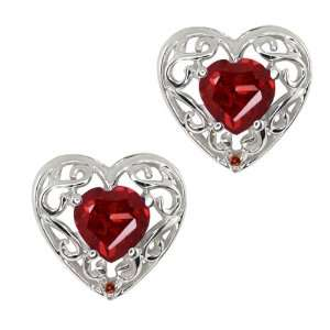 12 Ct Heart Shape Red Garnet and Cognac Red Diamond Sterling Silver
