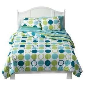 Xhilaration Blue Green Dot Comforter & Shams Set Full Queen Bed Cover