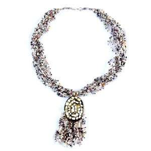 Bead Necklace 20L with Lovely Pendant / Multi color
