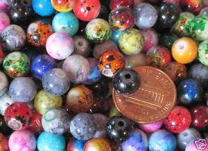 Lb/Pound  8mm Round Glass Beads  Marble & Jaspertones  USA Seller