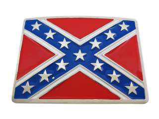 Chrome Plated Rebel Flag Belt Buckle Confederate Dixie