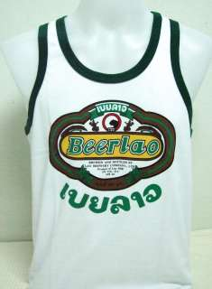 Beer Lao Biere Lager White G Singlet Vest Tshirt size M