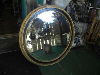 LARGE ROUND HANGING WALL MIRROR WITH WOOD FRAME