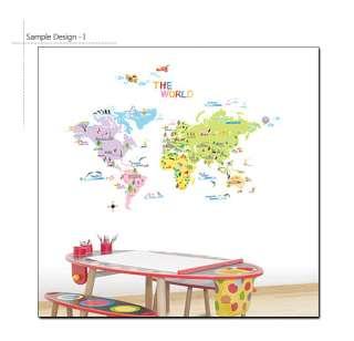 WORLD MAP Children Room Nursery Wall Decor DIY STICKER