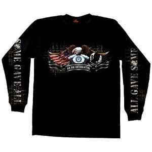 Hot Leathers Black Large Born Free Eagle POW Double Sided Long Sleeve