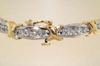 6,000 2.20CT ROUND CUT DIAMOND CLUSTER BRACELET 2 TONE GOLD