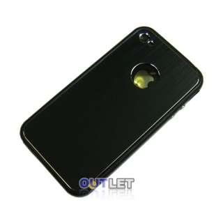 Black Aluminium Sticker Skin Cover+Bumper Case+Screen Protector For