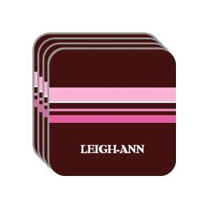 Personal Name Gift   LEIGH ANN Set of 4 Mini Mousepad Coasters (pink