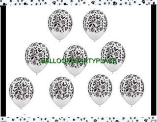 LATEX BALLOONS black white party polka dot damask paw prints