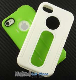GREEN WHITE DUO SHIELD SOFT RUBBER SKIN HARD CASE COVER FOR APPLE