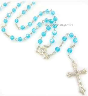 Blue AB Crystal Rosary Glass Beads Cross Necklace 28