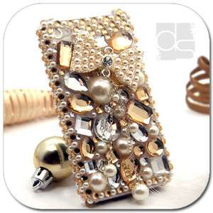 3D Bling Gold Crystal Gems Hard Skin Back Case Cover For Apple iPhone