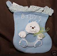 BLUE BABYS FIRST CHRISTMAS STOCKING PICTURE FRAME