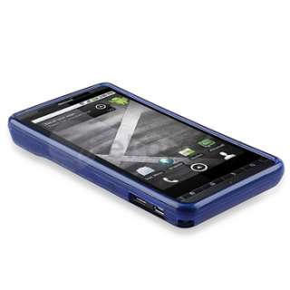 For Motorola Droid X 4 Smoke Blue Cover Skin Case+Battery+Charger+LCD