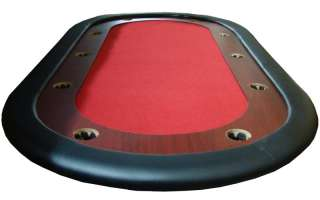 Red Felt Poker Table With Dark Wooden Race Track 84x42