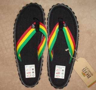 7d94b8f3e6ae Bob Marley Mens FRESCO BLACK Striped Flip Flops Shoes NWT Several on ...