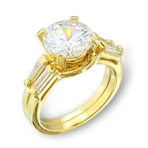 Womens Brida Clear Cubic Zirconia Gold Tone Ring, Size 5