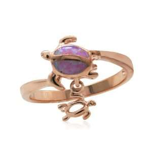 Rose Gold Mom and Baby Turtle Pink Opal Silver Ring