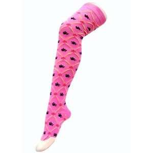 Pink Skull Chain Link Thigh High Socks Size 9 11