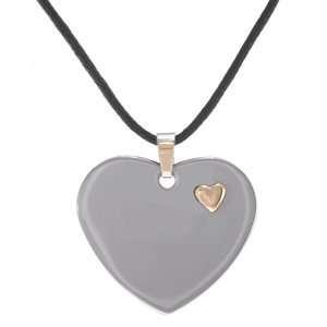 18k Yellow Gold & Stainless Steel Heart Pendant with Adjustable Black