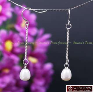 NATURAL WHITE CULTURED PEARL CHANDELIER DANGLE EARRINGS