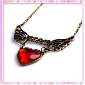 Vintage Hollow Wing Swing Heart Red Acrylic Pendant Necklace Fly New