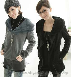 Womens Faux Fur Hooded Zipped Jackets Coats Hoodie Outerwear Tops XS S