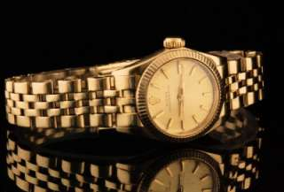 Excellent Vintage 14K Solid Gold Ladies Rolex Oyster Perpetual Ref