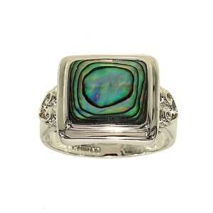 Square Cut Genuine Abalone Silvertone Fashion Ring with Abstract Heart