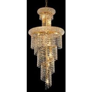 Spiral 10 Light Pendant Finish Gold, Crystal Trim Spectra Swarovski