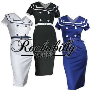 Rockabilly 50s Pinup Girl Sailor Dress Size 8   Plus Sz Sexy Wiggle