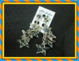 JE002   Super Star Blue & Brown Leapord Pattern Lady Fashion Dangle