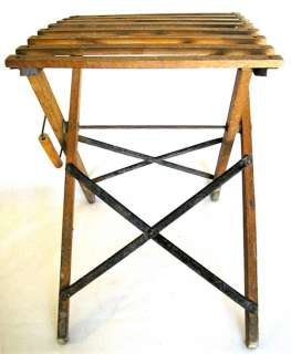 ANTIQUE PORTABLE STOOL FOLDING WOOD IRON TO FISH PAINT