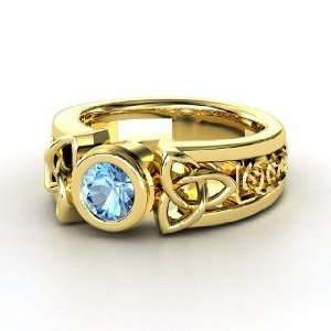 Celtic Sun Ring, Round Blue Topaz 14K Yellow Gold Ring Jewelry