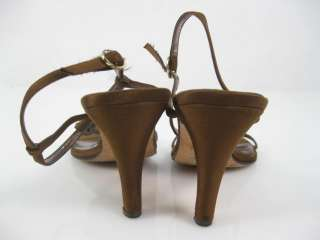 BP Brown Satin Rhinestone Studded Heels Sandals Shoes 4