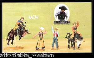BULLRIDER ACTION SET of 4   Bulls Cowboys RODEO Bullriders Toy   Cake