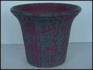 Vintage Burley Winter flaired ribbed Art Pottery Mottled Plum Vase Pot