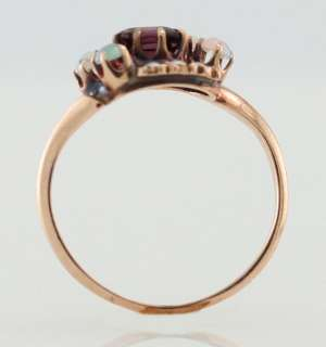 Antique 14k Gold Amethyst Opal Pearl Cocktail Ring Size 5