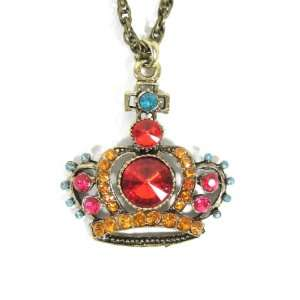 Royal Crown Necklace Gold Ruby Red Crystal Princess Charm