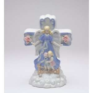 Woman Guardian Angel in Blue Robe with 2 Children Cross