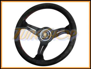 DEEP CORN 330 MM STEERING WHEEL BLACK SUEDE RED STICHING HORN
