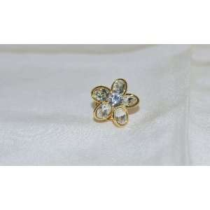 Clear Cubic Zirconia Shiny Gold Tone Flower Brooch