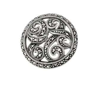 Sterling Silver Marcasite Round Open Work Swirls Pin Jewelry