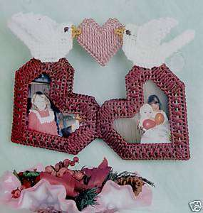 VALENTINE LOVE DOVE FRAME plastic canvas pattern