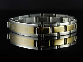 b472 Stainless Steel Greek Key Gold Plated Men Bracelet