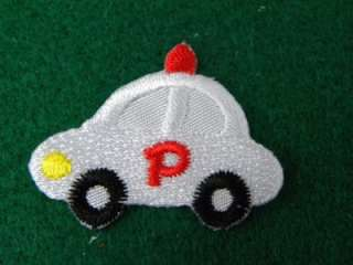 POLICE CITY CAR SIREN IRON ON PATCH EMBROIDERED I278
