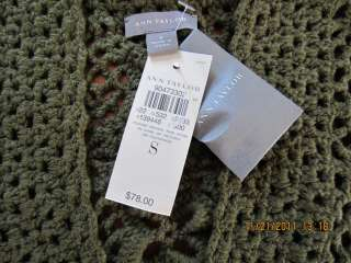 ANN TAYLOR womens Corchet Cardigan Sweater Sea Green Size S,L or XL