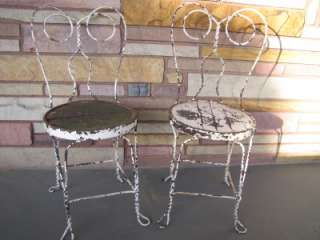 Vintage Ice Cream Chairs   Set of (2)   Wrought Iron Decorative Garden